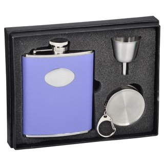 Visol Blossom Lavender Leather Stellar Flask Gift Set - 6 ounces