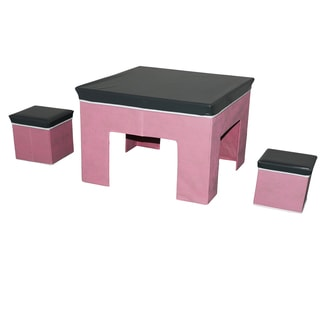 3-Piece Children's Grey/ Pink Play Table and Stools