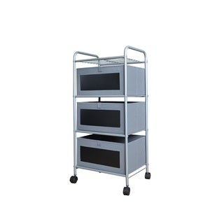 Grey and Black 3-Drawer Chalkboard Front Cart