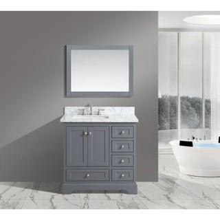 Urban Furnishing Jocelyn White Italian Carrara Marble 36-Inch Bathroom Sink Vanity Set (3 options available)
