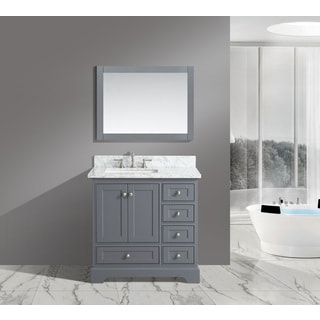 Urban Furnishing Jocelyn White Italian Carrara Marble 36-Inch Bathroom Sink Vanity Set