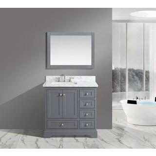 Urban Furnishing Jocelyn White Italian Carrara Marble 36-Inch Bathroom Sink Vanity Set