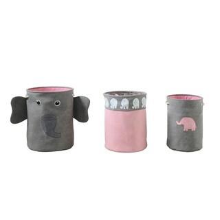 Grey/ Pink 3-Piece Elephant Storage Hamper Set