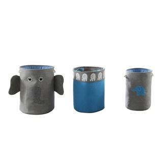 Grey/ Blue 3-Piece Elephant Storage Hamper Set