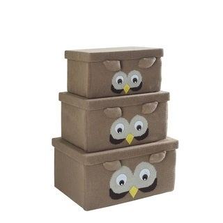 Brown Fabric Owl Storage Boxes (Set of 3)