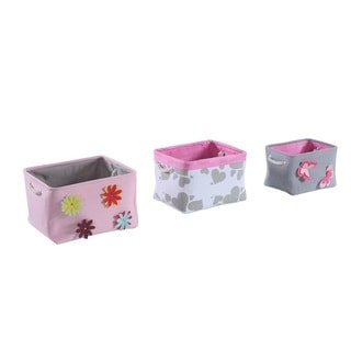 3-Piece Grey/ Pink Spring Storage Bin Set