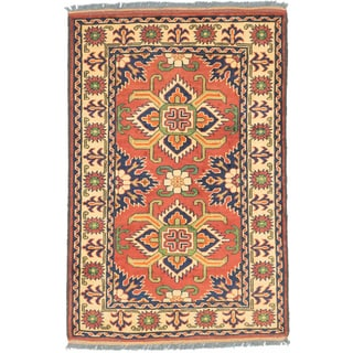 eCarpetGallery Finest Kargahi Orange and Yellow Wool Hand-knotted Rug (2'9 x 4'2)