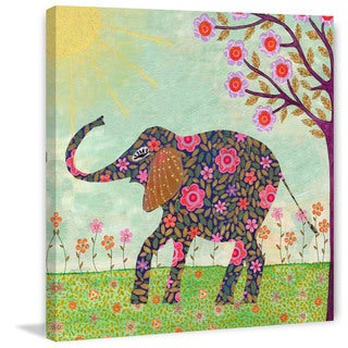 Marmont Hill - 'Sunny Elephant' by Sascalia Painting Print on Wrapped Canvas