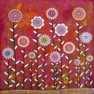Marmont Hill - 'Flowers 5' by Sascalia Painting Print on Wrapped Canvas