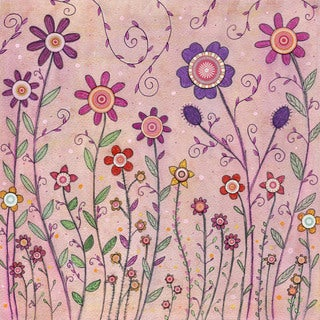 Marmont Hill - 'August Flowers' by Sascalia Painting Print on Wrapped Canvas