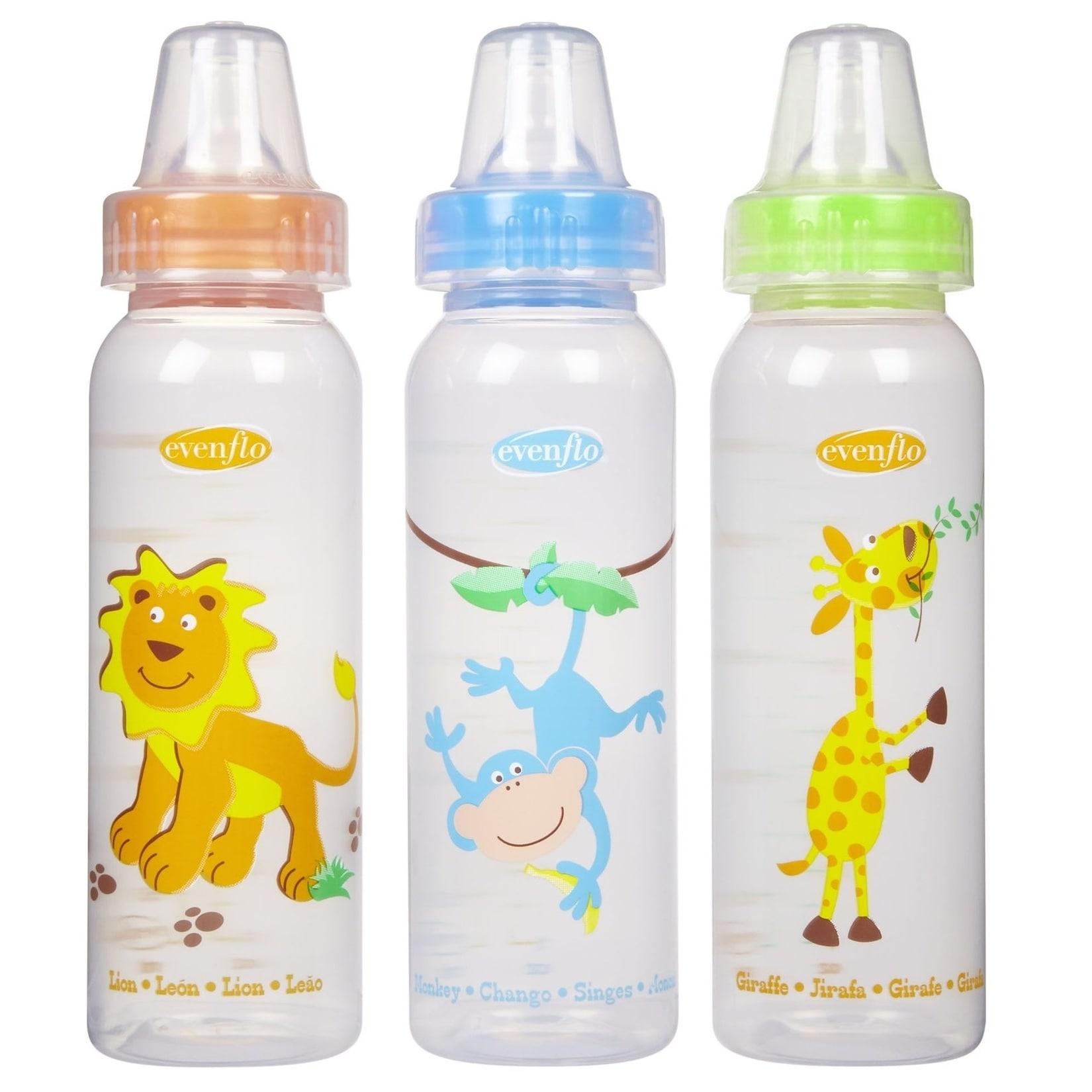 Evenflo Orange/Blue/Green 8-ounce Zoo Friends Bottle with...