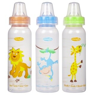 Evenflo Orange/Blue/Green 8-ounce Zoo Friends Bottle with Standard Nipple (Pack of 3)