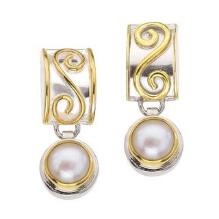 Silver and Pearl Drop Earrings with Scrolls by Ever One
