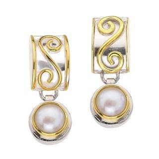 Silver and Pearl Drop Earrings with Scrolls by Ever One|https://ak1.ostkcdn.com/images/products/13113207/P19844451.jpg?impolicy=medium