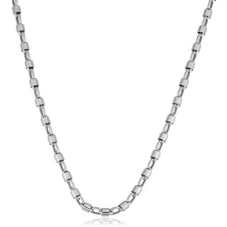 Fremada Unisex 14k White Gold Bullet Link Chain Necklace (22 inches)