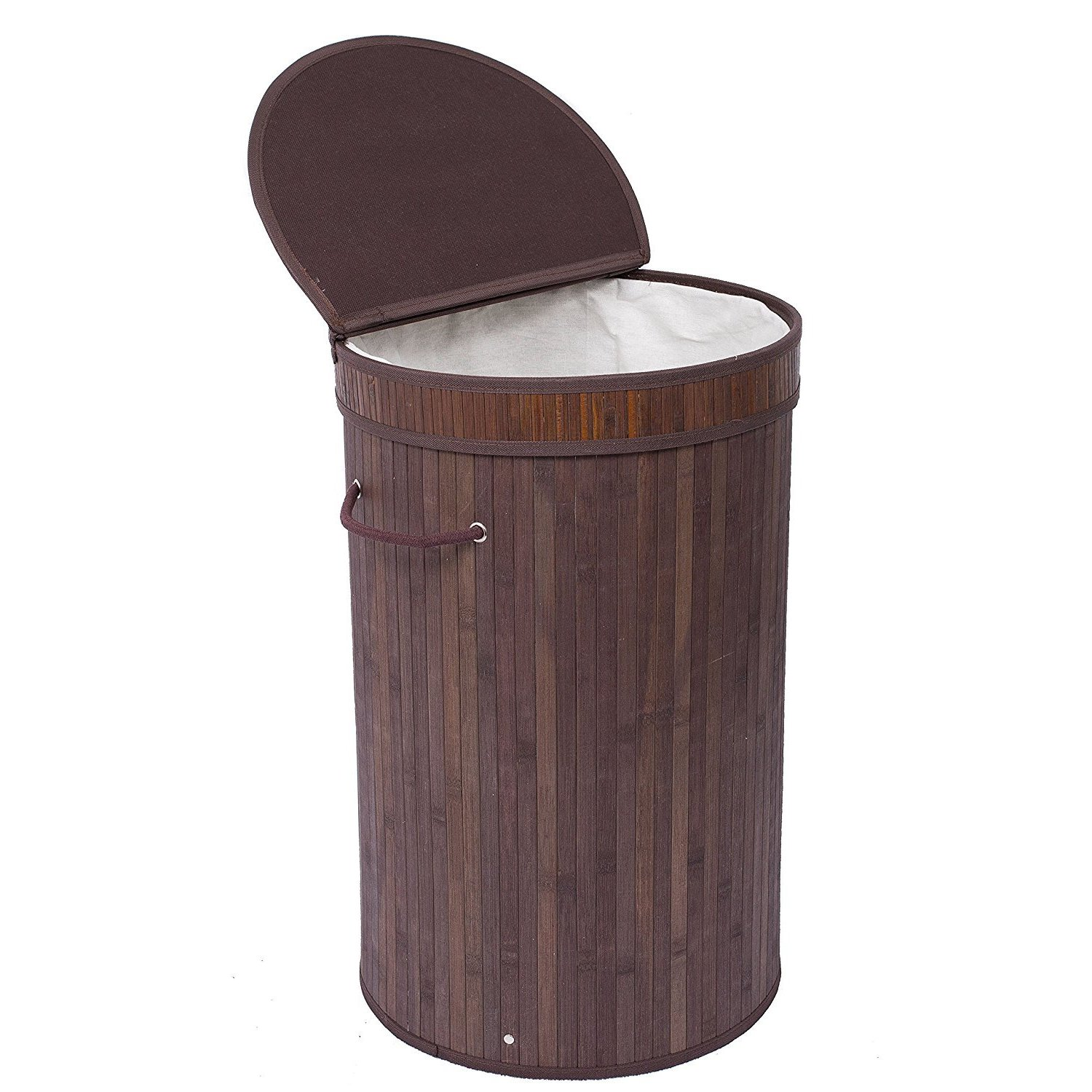 BirdRock Home Round Laundry Hamper with Lid and Cloth Lin...