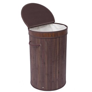 BirdRock Home Round Laundry Hamper with Lid and Cloth Liner