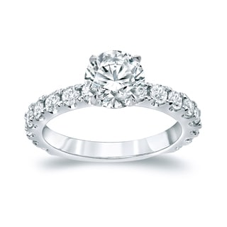 Auriya Platinum 2 1/2ct TDW Certified Round Cut Diamond Engagement Ring (H-I, SI1-SI2)