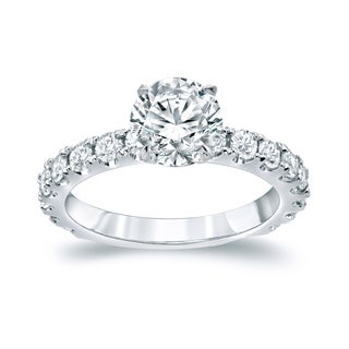 Auriya Platinum 2 1/2ct TDW Certified 1 1/2ct Round Cut Diamond Engagement Ring