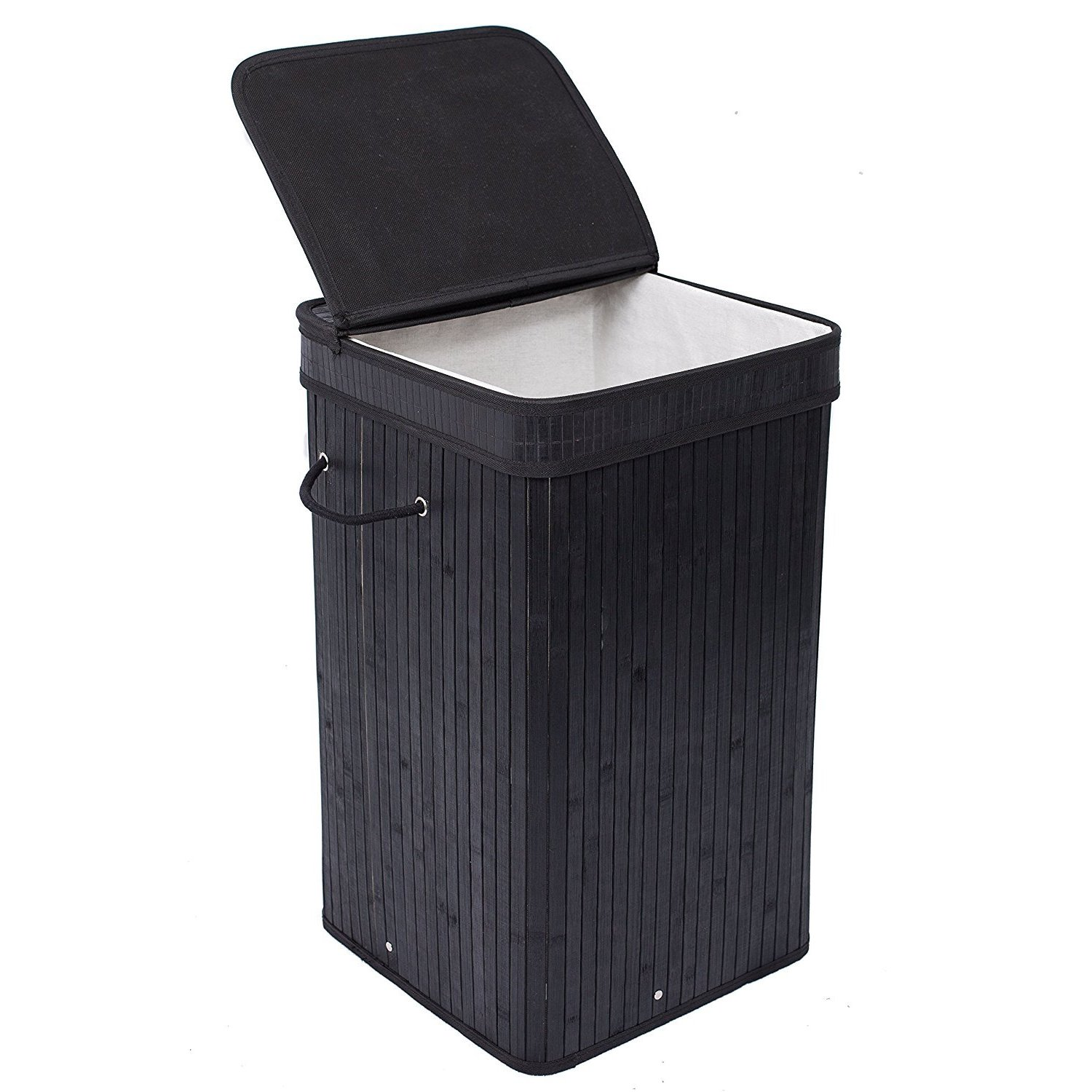 BirdRock Home Square Laundry Hamper with Lid and Cloth Li...