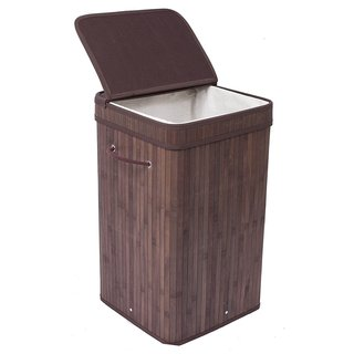 BirdRock Home Espresso Finish Bamboo/Cotton Square Laundry Hamper With Lid  And Cloth Liner