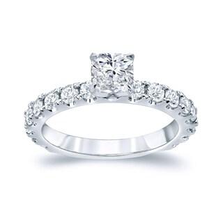 Auriya Platinum 1 1/2ct TDW Cushion Cut Diamond Engagement Ring (H-I, SI1-SI2)