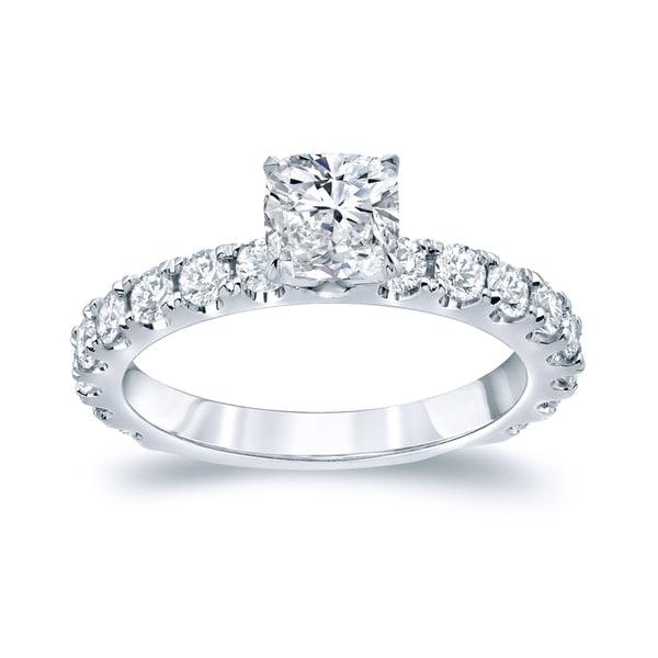 Auriya Platinum 1 3/4ct TDW Certified Cushion-Cut Diamond Solitaire Engagement Ring