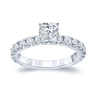 Auriya Platinum 1 3/4ct TDW Certified Cushion Cut Diamond Engagement Ring