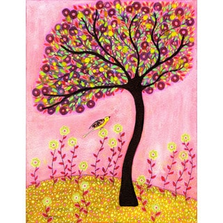 Marmont Hill - 'Blush Tree' by Sascalia Painting Print on Wrapped Canvas