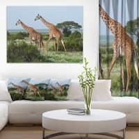 Designart 'Two Giraffes in African Savannah' African Canvas Artwork