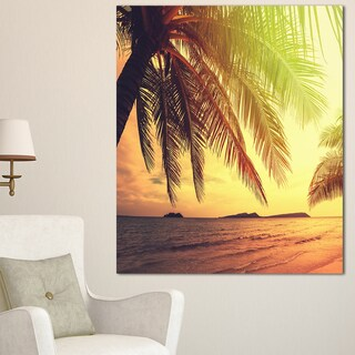 Designart 'Tropical Beach with Green Palm' Large Seashore Canvas Print