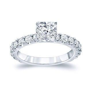 Auriya Platinum 2ct TDW Certified Cushion Cut Diamond Engagement Ring (H-I, SI1-SI2)