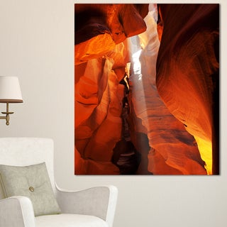Designart 'Antelope Canyon in Sunlight Rays' Oversized African Landscape Canvas Art - Red