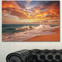 Designart 'Waves under Colorful Clouds' Large Seashore Canvas Print