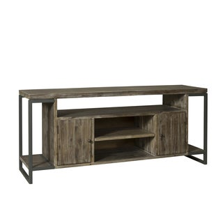 Harrison Pewter Finish/Natural Brown Acacia TV Console