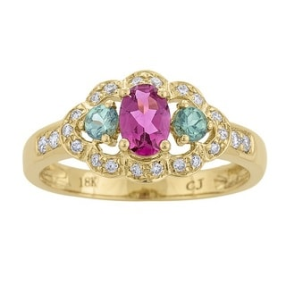 Anika and August 18k Yellow Gold Rubellete, Alexandrite, and 1/5ct TDW Diamond Ring (G-H, I1-I2)