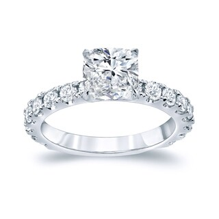 Auriya Platinum 2 1/2ct TDW Certified Cushion Cut Diamond Engagement Ring (H-I, SI1-SI2)