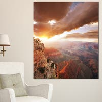 Designart 'Grand Canyon under Thunderstorm Sky' Oversized Landscape Canvas Art - Red