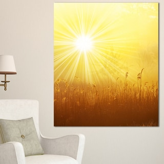 Designart 'Amazing Sunrise over Meadow' Oversized Landscape Canvas Art