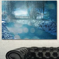 Designart 'Beautiful Winter River View' Oversized Landscape Canvas Art - Blue
