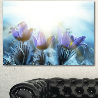 Designart 'Blooming Blue Spring Flowers' Large Flower Canvas Artwork