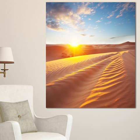 Designart 'Desert Dunes Reflecting Sunset' Oversized Landscape Canvas Art - Orange