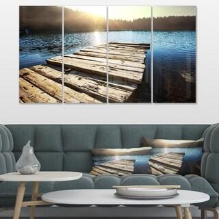 Designart 'Large Wooden Pier into the Lake' Large Seashore Canvas Art