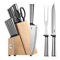 Ginsu Koden Series 16-Piece Serrated Knife Set – Cutlery Set with Stainless Steel Kitchen Knives, Natural Block