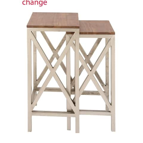 Studio 350 Metal Wood Side Table Set of 2, 28 inches, 30 inches high