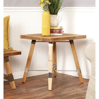 Traditional Wood Stainless Steel Side Table
