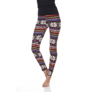 White Mark Women's Multicolored Holiday Print Polyester/Spandex One Size Fits Most Leggings