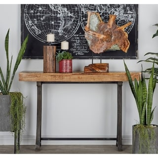 Rustic Rectangular Metal and Wood Console by Studio 350