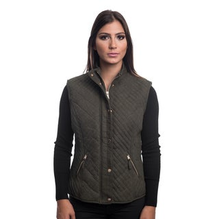Special One Ladies Quilted, Bonded, Fur-lined, Zip-up, Vest With Suede Piping and Pockets