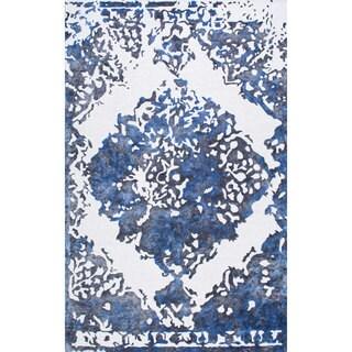 nuLOOM Handmade Vintage Damask Blue Rug (5' x 8')
